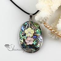 Wholesale Pearls Cameo Necklace - oval flower cameo rainbow abalone pink yellow oyster mother of pearl sea shell rhinestone necklaces pendants High fashion jewelry