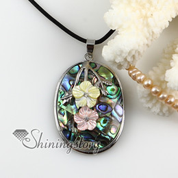 Wholesale Oval Cameo Necklace - oval flower cameo rainbow abalone pink yellow oyster mother of pearl sea shell rhinestone necklaces pendants High fashion jewelry