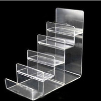 Wholesale Wholesale Handbag Displays - Clear Black Multi Layer Acrylic Shelf Wallet Purse Display Stand Mobile Phone Shell Rack Handbag Holder