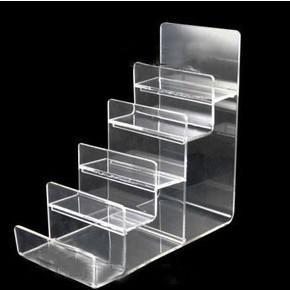 top popular Clear Black Multi Layer Acrylic Shelf Wallet Purse Display Stand Mobile Phone Shell Rack Handbag Holder 2021