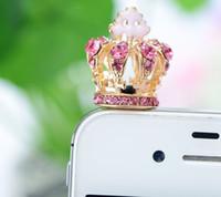 Wholesale Diamond Crown Plug Phone - Elegant Phone Accessories 3D Diamond Crown Anti-Dust Plug 3.5MM Earphone Jack For Iphone iPad Samsung HTC