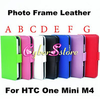 Wholesale One M4 - Hot Selling Photo Frame Photoframe Wallet PU Flip leather Case Cover With Credit Card Slots Pouch For HTC One Mini M4