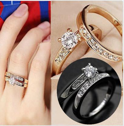 2set Bijoux De Mariage Bague Simulé Diamant Anneaux 18 K doré anneau Swarovski cristal Anneau 2016 bijoux pour femmes