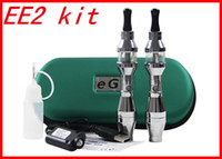 Wholesale Ego Ee2 Double - Hot eGo Double Stem EE2 ego kit EE2 Tank Atomizer Clearomizer 650 900 1100mah Battery ego E- Cigarette kits in ziper case DHL Free