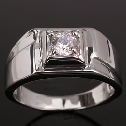 Wholesale White Topaz Ring Silver 925 - Classic White Sapphire Rhodium Finish Men Sterling Silver 925 Ring Man NAL Size 10 to 13 R500
