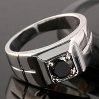 schwarze saphirring männer großhandel-Einzigartige Black Sapphire Men Sterling Silber Ring Man NAL Größe 10 11 12 13 R508
