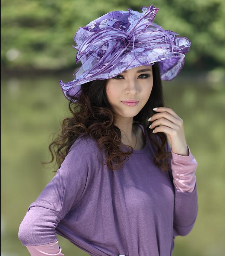 Women Winter Dress Hat For Church Chapeau Hat Millinery Women Organza Hat  Sun Shading Hats Purple Women S Hats Sun Hats For Women Trilby Hats From ... b8e4bf340f60