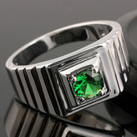 Wholesale Solitaire Emerald Rings - Unique Green Emerald Men Sterling Silver Ring Man NAL Size 10 11 12 13 R523