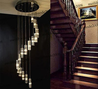 staircase chandeliers 2018 - nimi41 Modern Minimalist Fashion Transparent K9 Crystal Block S-shaped Duplex Staircase Pendant Chandelier Lighting Lamps Light MYY5471