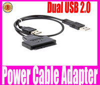 Wholesale Sata Power Data Adapter Cable - Dual USB 2.0 to SATA 15+7 Pin Data and Power Cable Adapter For 2.5 inch HDD SSD Free Shipping