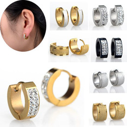Wholesale Women Earrings Free Shipping - 10pairs Punk Mens Women Crystal Stainless Steel Ear Hoop Earrings Gauges NEW mix styles Jewelry Free Ship [JE01008-JE01010 M*10]