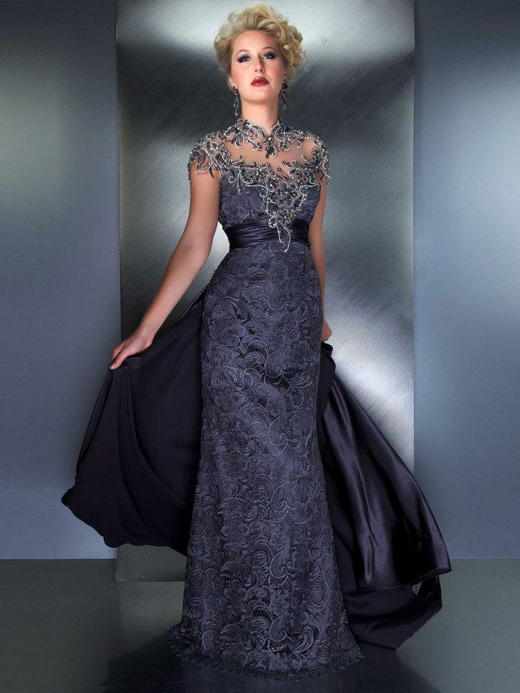 Gorgeous Scoop Cap Sleeve Exquisite Beading Lace Elegant Mother of the Bride Dress Fashion Evening Dress
