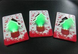 Wholesale Mini Logo Light - Mini LED Christmas Tree Folding Card Night Lights Lamp Pocket Bulb Card costomer logo print Creative Gift Free Shipping best2011