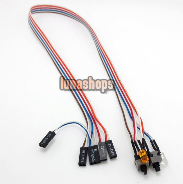 50cm Pc Computer Case Power Switch Reset Hdd Led + 2 Switch Cable ...