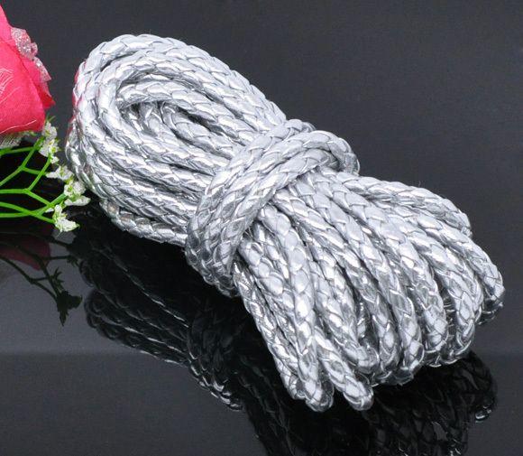 JLB 50m / partij 5mm 5 kleuren keuze Groothandel veel mode vlechten PU lederen sieraden koorden DIY materialen accessoires gratis verzending