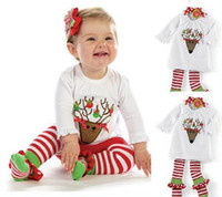 Wholesale Cute Christmas Girl Outfits - baby girls Xmas Outfits Children Christmas 2pcs sets clothes white sanda tree t-shirt & red white stripe pants 5pcs lot