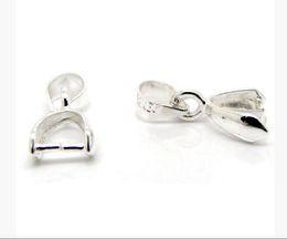Bijoux pincer bails en Ligne-Chaude 100 pcs / lot Argent Plaqué Clip de Pince Bail Perles Résultats 15x5.6mm Résultats de Bijoux Composants DIY