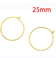 Wholesale Hoop Wire - MIC 25mm 1000pcs Gold Plated Wine Glass Charms Wire   Hoops Jewelry DIY Jewelry Findings & Components Hot