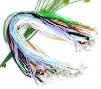 "Wholesale Organza Ribbon Waxen Cord Necklace - Hot sell ! Random Mixed Lobster Clasp Organza Ribbon Waxen Cord String Necklaces 17""(003419)"