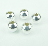 Wholesale 2mm Hole Round Beads - Free shipping 500pcs silver plated 8mm 2mm Hole spacer beads   round Smooth bead   Copper Beads   Loose Beads Fit European jewelry findings