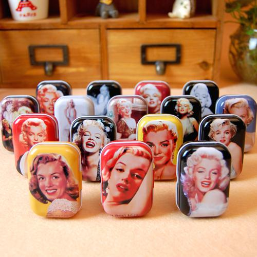 2 Box Free shipping (32 pcs/box) Metal Marilyn Monroe candy case box Party gifts box Jewelry box