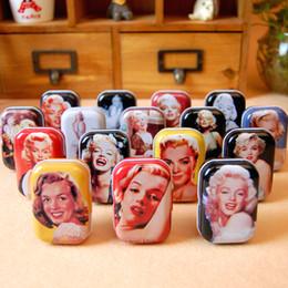 caixas de jóias de embalagem de veludo Desconto 2 Box Frete grátis (32 pçs / caixa) Caixa de caixa de doces de Metal Marilyn Monroe caixa de presentes Do Partido caixa de Jóias