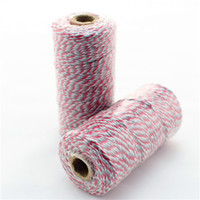 Wholesale Divine Twine - 100PCS Wholesale Bakers Twine Red&Grey Double Colors Cotton Packing Rope Divine Twine 21Mix Colors For Gift Packing Free Shipping