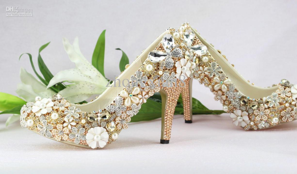 Medium Heel Luxury Gold Crystal Bride Wedding Shoes Bridal Shoes