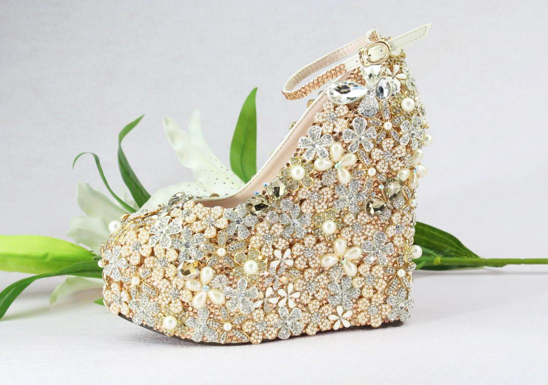 Handmade Luxury Gold Platform Heeled Designer Wedding Wedges 55