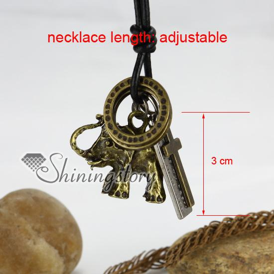genuine leather elephant nameplate cross round adjustable long pendants necklaces antique punk gothic styole Cheap fashion jewelry Aln0795yy
