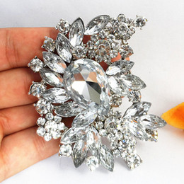Wholesale Selling Brooches - 3 Inch Huge Flower Brooch Hot Selling Trendy Luxury Large Crystal Bridal Broach Graceful lady Costume Corsage Top Quality
