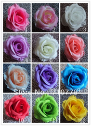 Wholesale Kissing Ball Diy Silk Flowers - 200PCS 9CM 12COLORS available artificial rose silk flower DIY wedding arch flowers wall flower bouquet kissing ball making