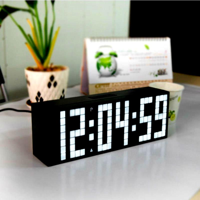 Chkosda Big Font Digital Led Wall Alarm Clock With Calendar Temperature Home Decor Table Desk No Ticking Mute