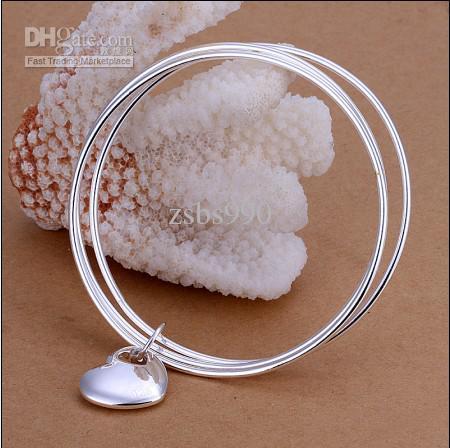 Haute qualité 925 en argent sterling plaqué pendentif coeur Trois tours bracelets bijoux de mode pour les femmes livraison gratuite /