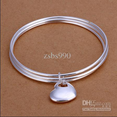 High quality 925 sterling silver plated heart pendant Three laps bangles fashion jewelry for women