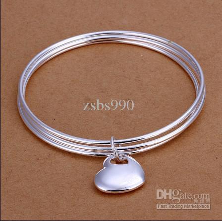 Yüksek kalite 925 ayar gümüş kaplama kalp kolye Üç tur bilezik moda takı kadınlar ücretsiz kargo 10 adet / grup