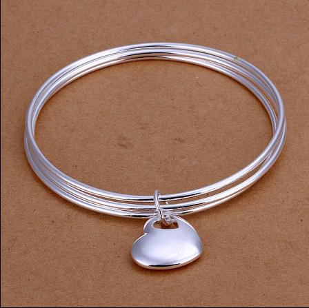 High quality 925 sterling silver plated heart pendant Three laps bangles fashion jewelry for women free shipping 10pcs/lot