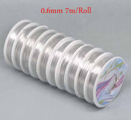 Wholesale Tail Beading Wire - 0.6mm 10rolls (7m roll) Fashion Silver Tone Copper Tiger Tail Beading Wire jewelry string DIY Jewelry Findings Free Shipping