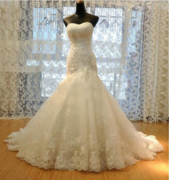 Wholesale Straight Wedding Dresses - 2016 New Wedding Dress Tulle Strapless Straight Neckline Lace Empire Bow Beaded Mermaid Bridal Gown Wedding Dress