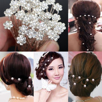 Wholesale Hair Pins Fashion Jewelry - Fashion Pearl Hair Pins Crystal Hair Jewellery Wedding Bridal Jewelry Hair Accessories 200pcs [JH03003(40)*5]