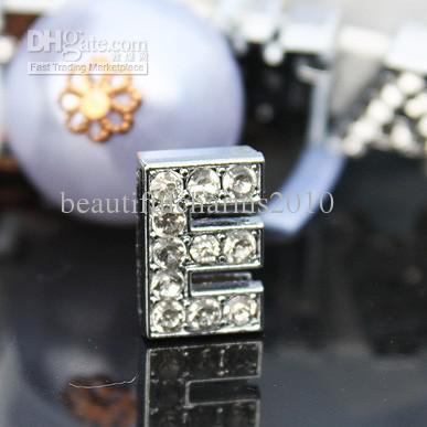 50 teile / los 10mm E Volle Rhinestones Bling Slide Brief DIY Legierung Bezaubert Fit Für 10 MM armband armband schlüsselanhänger 0041