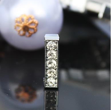 / 10mm ich volle Rhinestones Bling Dia-Buchstabe DIY Legierungs-Charme-Sitz für 10MM Armband Armband 0001