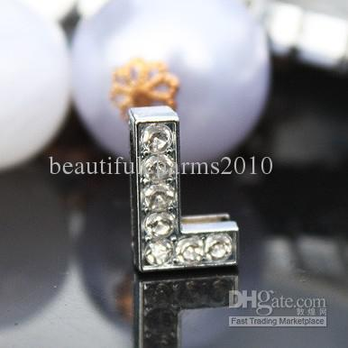 50 stks / partij 10mm L volle steentjes bling glijbrieven diy charms fit voor 10 mm lederen armband huisdier kraag sleutelhangers SL018