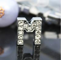 Wholesale 50PCS lot 10mm M slide letter DIY Accessories Alphabet Fit For 10MM Pet Collar Leather Wristband SL006
