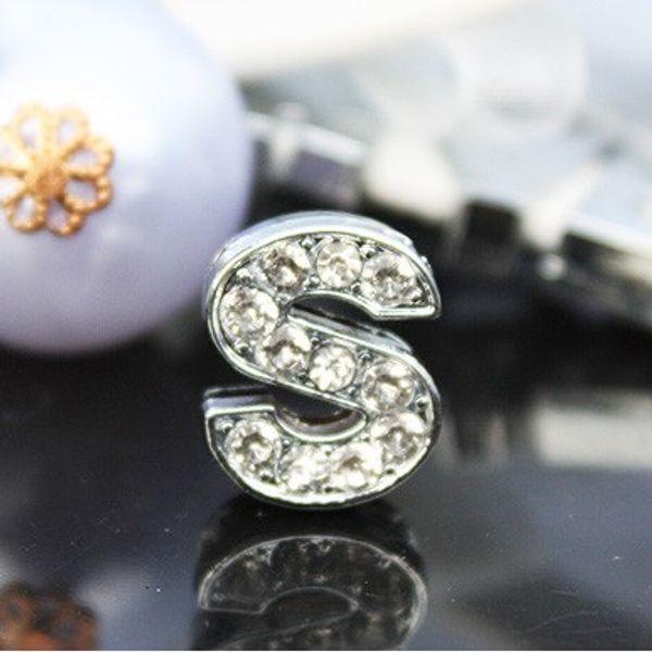 Toptan 50 adet / grup 10mm S rhinestones bling slayt mektubu alfabe DIY aksesuarları 10mm bileklik kolye için fit