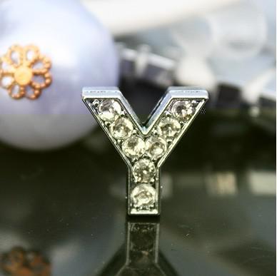 50pcs/lot 10mm Y Full Rhinestones Bling Slide Letters DIY Alloy Charms Fit For 10MM wristband bracelet 0031