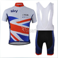 Wholesale Cycling Team Jersey British - 2013 SKY team Great Britain cycling Jersey bike clothing and bib Shorts bicycle suits british cycling Ciclismo Maillot