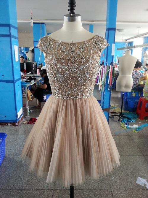 Best Selling High Quality Black Cap Sleeves Beading Short Cocktail Dress Homecoming Dress Party Gown