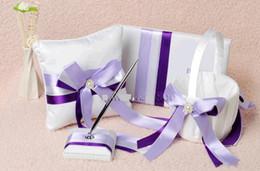 Wholesale Lace Ribbon Ring Pillow - White&Purple Lace Ribbon Crystal Pearl Wedding Guest Book Satin Wedding Bearer Ring Pillow Pillows & Pen Set & Flower Basket Wedding Suppl