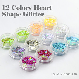 Wholesale Heart Shape Nail Glitter - New Brand Supernova Sale 3d Nail Art Decorations 12 Colors Heart Shape Glitter for Acrylic and UV Gel Nails Decoration Nail Supplies G005